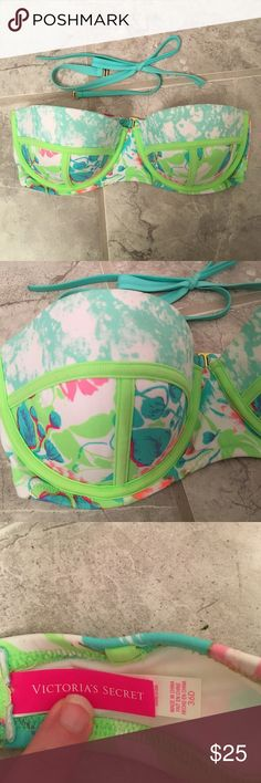 VS New Strapless Bathing Suit Top Adorable bathing suit top that can be worn strapless but also comes with straps. Tried on but never worn. Vibrant neon colors and a few hints of gold on the pattern. Victoria's Secret Other