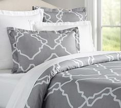 Trisha Duvet Cover & Sham in Grey, $90 (Full/Queen), $27.50 (Standard Sham), Pottery Barn