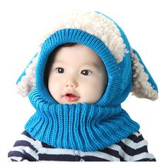 2015 winter baby hat and scarf puppy design hooded crochet scarf girl boy toddler kids neck warmer snow cap photography props