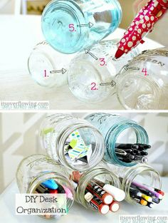Mason jar organization idea 20 Of The Best Mason Jar Projects - to organize all my little ones' coloring utensils Mason Jar Projects, Mason Jar Crafts, Mason Jar Diy, Diy Projects, Cute Desk Organization, College Dorm Organization, Bohemian Bedrooms, Ideas Para Organizar, Style Deco