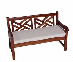 """Childrens Indoor and Outdoor Solid Teak Garden Bench with White Cushion, Solid Teak Bench, No Chemicals, Indoor and Outdoor Bench for all your Children, Compliments Galore from Family and Friends! Ages 1-9 by JazTy Kids Furniture, http://www.amazon.com/dp/B007PEK\  $149.95 35"""" (L) x 18"""" (Seat Height) x 23"""" (D)"""