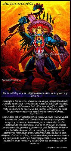 Paginas Mexicanas: HUITZILOPOCHTLI Aztec Warrior, Aztec Art, Mythical Creatures, Prehistoric, Body Art Tattoos, Quotes, Artwork, Anime, Aztec Culture