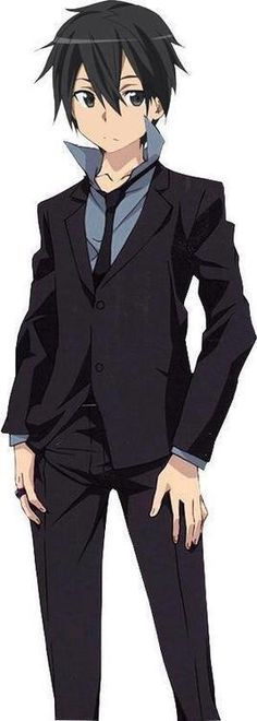 "The character Kirito in dress clothes, from the series ""Sword Art Online."""