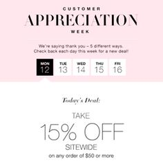 It's Avon Customer Appreciation Week! Each day check out new savings when you shop Avon and use the daily savings code! Thank you for being a valued Avon customer!