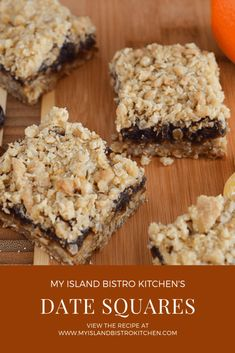 Date Squares - My Island Bistro Kitchen The Oatmeal, Sticky Toffee Pudding, Lord Byron, Paleo Vegan, Vegetarian, Natural Living, Baking Recipes, Dessert Recipes, Candy Recipes