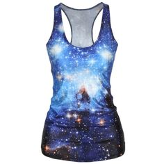 Round Neck Racerback Galaxy Printed Sleeveless T-Shirt ($16) ❤ liked on Polyvore featuring tops, t-shirts, round neck t shirt, round neck top, galaxy tees, blue t shirt and racerback tee