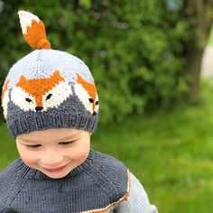 Knitting Patterns Boys, Baby Boy Knitting, Knitting For Kids, Knitting Projects, Crochet Patterns, Hat Patterns, Baby Hat Knitting Pattern, Knitting Hats, Fox Pattern