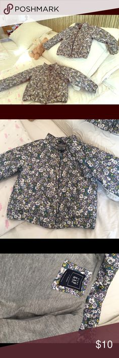 Baby Gap lined wind breakers. Floral pattern. Adorable warm lined yet light weight jacket from baby gap. My girls wore these in winter in london. Great for rainy days too! GAP Jackets & Coats Puffers
