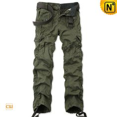 Army Green Hiking Cargo Pants Men CW140480 Classic loose fit army green hiking cargo pants for men is the best choice for outdoor sportswear, attached with a waist belt and drawstring hems offers a comfortable wearing experience to you!