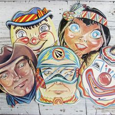 Vintage Halloween Masks Cardboard Reproductions