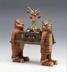 Ferrying by Sara Swink Pottery Sculpture, Lion Sculpture, Clay Animals, My Images, Art Pieces, Elephant, Statue, Ceramics, Artwork