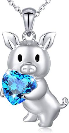 Girlfriend Birthday Gifts 925 Sterling Silver Cute Animal Jewelry Cubic Zirconia Love Heart Pendant Necklace for Women Girls, Birthday Gifts For Girlfriend, Mom Birthday Gift, Birthday Gifts For Women, Pig Necklace, Heart Pendant Necklace, Baby Pigs, Cute Pigs, Christmas Gifts For Women, Animal Jewelry