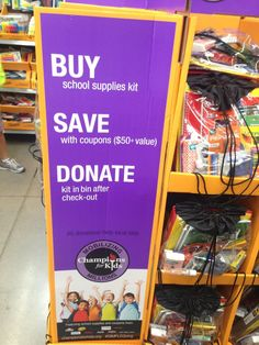 Champions for Kids and Walmart team up for Back to School - Buy a Pre-Filled Backpack in stores and Donate in stores, SO EASY! The Backpacks all stay in your local area! Use the hashtag #SimpleServeSave and for every 5 backpacks donated Savings.com will donate an additional backpack!
