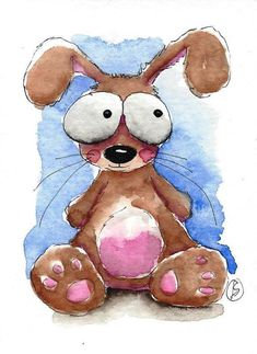 ACEO Original watercolor art painting Lucia Stewart whimsical animal baby rabbit #IllustrationArt