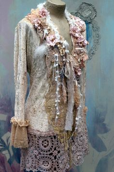Magnolias jacket bohemian romantic altered by FleursBoheme
