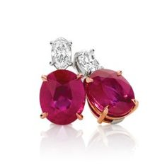 Magnificent 4.14ct Natural Burmese Ruby studs with 0.39cts of oval cut white Diamonds set in 18ct White and Rose Gold