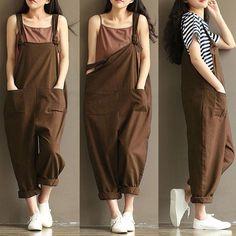Women Casual Linen Pants Cotton Jumpsuit Strap Harem Trousers Overalls US Stock Harem Trousers, Suspender Dress, Cotton Jumpsuit, Linen Pants, Casual Looks, Overalls, Vintage Fashion, Cotton Linen, Walmart