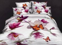 Cheap bed duvet, Buy Quality bed linen supplier directly from China bed linen wholesale Suppliers: Floral white designer butterfly queen cotton comforter set bedding set sheets quilt duvet cover bedspreads bed linen Cheap Bedding Sets, Best Bedding Sets, Bed Sets, Duvet Bedding, Comforter Sets, Cama Floral, Butterfly Bedding Set, Butterfly Print, Bed Linen Online
