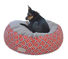 Round Pet Bed, Red Pet Pouf, Cat Bed, Dog Bed, Pet Bed Furniture, Removable Pet Pouf Cover, Washable Dog Bed Cover, Small Medium Large Poufs by originaldigsllc. Explore more products on http://originaldigsllc.etsy.com