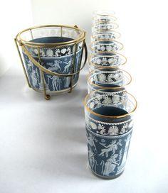 Vintage Bar Glasses Glass Ice Bucket & Gold Metal by retrovertigo,