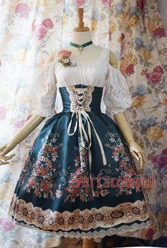 Surface Spell Gothic - Alpine Rose - High Waist Lolita Skirt