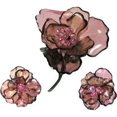 Vintage Vendome Huge Acrylic Pink Flower Brooch & Earrings Offered by Ruby Lane shop The Vintage Jewelry Boutique