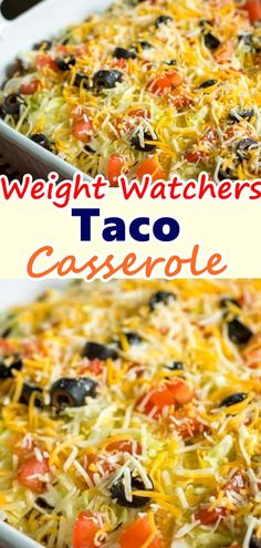 This Weight Watchers Taco Casserole Recipe is a variation of my favorite Weight Watchers friendly. Don't forget to Pin this so it will be SAVED to your timeline! This Weight Watchers Taco Casserole Recipe is a variation of my favorite Weig Weight Watchers Casserole, Weight Watchers Meal Plans, Weight Watcher Dinners, Weight Watchers Diet, Weight Watchers Chicken, Skinny Recipes, Ww Recipes, Mexican Food Recipes, Cooking Recipes
