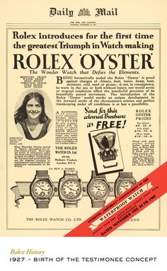 To celebrate the Channel swim, Rolex published a full-page advert on the front page of the Daily Mail proclaiming the success of the waterproof wristwatch. This event marked the birth of the Testimonee concept. #RolexOfficial
