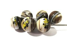 Lampwork VINTAGE End of Day Glass Beads Lampwork Six (6) 15mm Dark Brown Swirl Marble Handmade Beads Jewelry Beading Supplies (Y171) by punksrus on Etsy