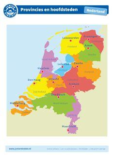 Provincies en hoofdsteden - Waar liggen alle provincies van Nederland en welke hoofdstad hoort erbij? Dat leer je door goed te oefenen met dit leerblad. Kijk goed naar de plaats van de provincie en welke hoofdstad erbij hoort, zodat je goed weet waar welke provincie met de bijbehorende hoofdstad ligt. Je kunt dit leerblad natuurlijk goed gebruiken het maken van de online oefeningen of de werkbladen. Let op: om de kaart goed te kunnen bekijken, raden wij aan deze in kleur te printen. Utrecht, Holland, Learn Dutch, World Thinking Day, School Play, Bosch, Kids Education, Netherlands, Einstein