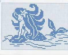 0 point de croix monochrome sirene - cross stitch blue mermaid