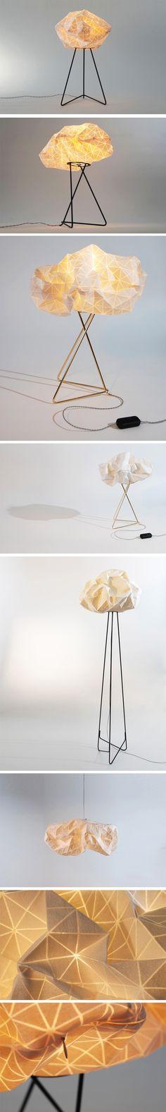 Producks Design Studio + Mika Barr - Série Ori Light /// Tels des petits nuages en tissu, chaque motif imprimé offre une diffusion différente, le volume de lumière est créé comme une nouvelle typologie. Les rainures et les pliages du tissu sont les responsables de l'éclairage variant les tons et les nuances.
