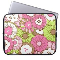 Pretty Pink Green Flowers Spring Floral Pattern Laptop Computer Sleeve