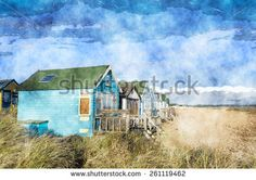 Colourful beach huts on Mudeford Spit at Hengistbury Head near Christchurch in Dorset - stock photo