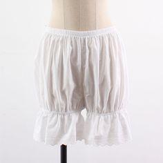 Womens Cotton  Ivory color Lace Bubble Long Bloomer  Under pants / Underwear #SeoArt #DressShorts