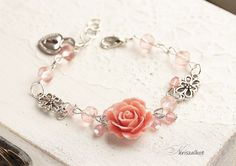Romantic coral red rose bracelet, coral red rose bracelet, Vintage style bracelet, Shabby Chic bracelet