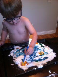 Play Create Explore: Shaving Cream Marbled Paper