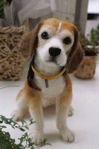 "Needle felted Beagle. VEGANIZE this, please! Art and creativity should NEVER support or condone animal cruelty and exploitation. Make sure your art/craft supplies aren't sourced from animals (such as ""wool"" felt, mohair, angora or alpaca fur, silkworm thread, feathers, etc.) and that they reflect a true reverence for life. Always use animal-free alternatives. Be kind. Be fair. Be vegan."