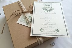 Bespoke hand drawn and hand painted Wedding Invitation for a vintage themed wedding