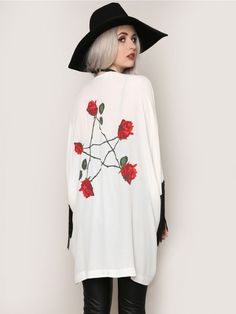 GYPSY WARRIOR White open front kimono, featuring black fringe on the sleeves with long stemmed roses on the back that are arranged to replicate a pentagram.