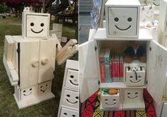 love robot dresser! really cute :) fantastic way to pep up cube or modular cupboards or furniture for play room kids bedroom or even my living and craft room