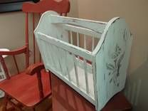 Shabby Chic Magazine Rack Colour: Casement from Fusion Mineral Paint Stencil: from Michaels