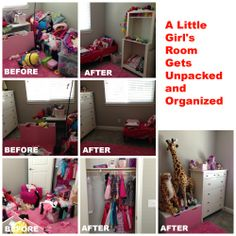 How quickly could you have unpacked this little girls room?  In a few hours everything was unpacked and organized and she was so happy to sleep in her new room.