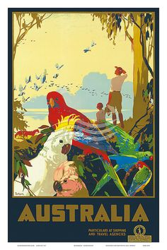 12 x 18 Australia Travel Agencies Tropical Birds Parrot Bay View James Northfield Vintage Digital Poster Art Print 1960s