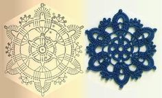 "Crochet - Free Pattern: ""Crochet snowflake"" - Level: easy+-"