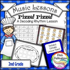 This is a great lesson to practice rhythms!  Kids are going to love composing pizza rhythms!  #elmused #pitchpublications #teachingmusic for elementary music with complete lesson plans!