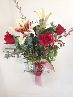 Rose of Sharon Floral Designs, Rose and Lily Arrangement