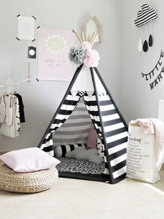 Play tent in a scandi nursery