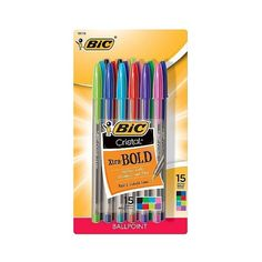 BIC Cristal Ballpoint Pen in Assorted Colors - 15ct ($3.49) ❤ liked on Polyvore featuring home, home decor, office accessories, colored pens, bic ballpoint pen, bic ball point pens, bic rollerball pens and bic pens