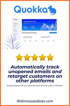 Track ignored emails and specifically retarget those customers on other platforms  Quickly integrate with your preferred email service provider or CRM tools  Manage multiple clients and projects, plus access useful analytics from one dashboard  Best for: Diversifying your marketing portfolio; reaching your customers through their preferred touch point